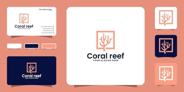 Inspiration de conception de logo de récif de corail et inspiration de carte de visite