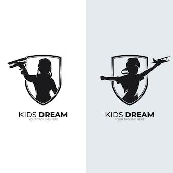 Inspiration de conception de logo de rêves de petits enfants