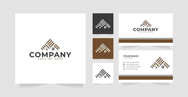 Inspiration de conception de logo de revêtement de sol à la maison et carte de visite