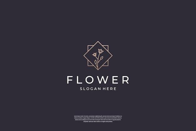 Inspiration de conception de logo de rose de fleur de luxe
