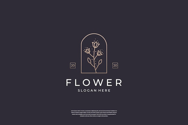 Inspiration de conception de logo rose fleur minimaliste.