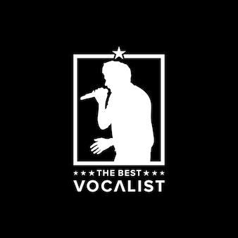 Inspiration de conception de logo de silhouette de chanteur