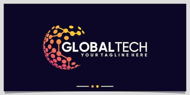 Inspiration de conception de logo de technologie mondiale avec un concept moderne unique vecteur premium