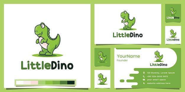 Inspiration de conception de logo de version de dessin animé petit dino