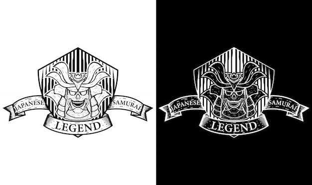 Inspiration de conception de logo vintage samouraï