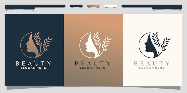 Inspiration de conception de logo de visage de femme de beauté avec le style d'art de ligne vecteur premium