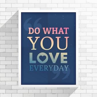 L'inspiration cotation sur une place de cadre blanc sur le mur blanc