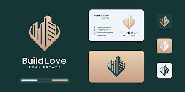 Inspiration créative de conception de logo d'amour de construction. immobilier, construction, modèles de conception de logo d'architecture.