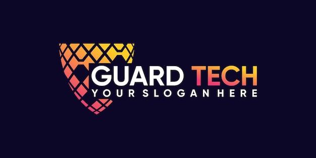 Inspiration créative de conception de logo de garde technologique avec un concept moderne unique vecteur premium