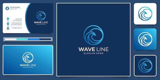 Inspiration créative de logo de ligne de vague minimaliste avec une couleur dégradée moderne et un modèle de carte de visite