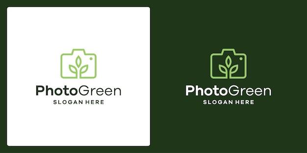 Inspiration du logo de l'appareil photo et logo du jardin. vecteur de prime