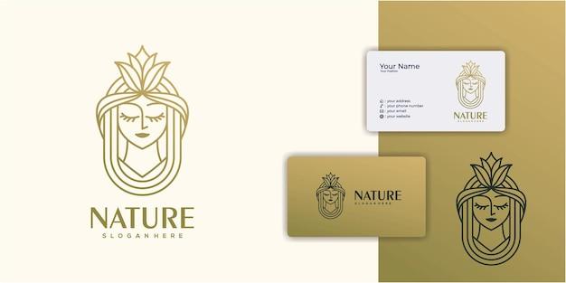 Inspiration du logo des femmes de beauté avec carte de visite pour les salons de soins de la peau et les spas avec combinaison de feuilles