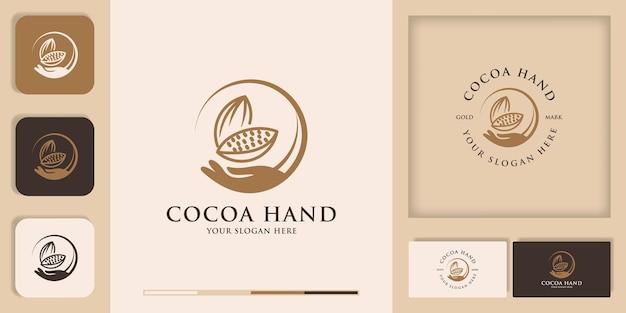 Inspiration du logo des fèves de cacao à la main pour les préparations alimentaires, de pain et de chocolat