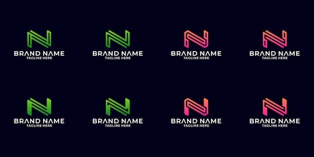Inspiration du logo n, ensemble de modèles de conception de lettre n propre