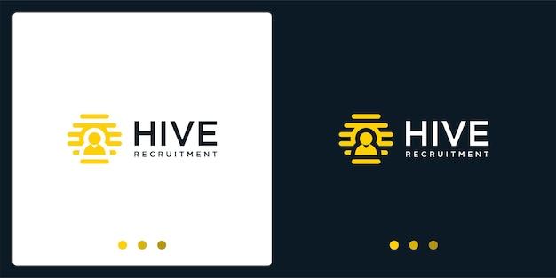 Inspiration du logo de la ruche et logo des personnes. vecteur de prime.
