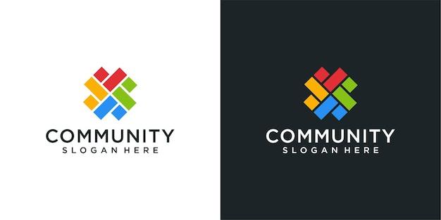 Inspiration du logo symétrie coloré