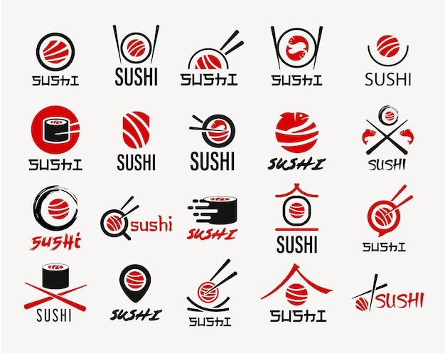 Inspiration japonaise de conception de logo de fruits de mer de sushi