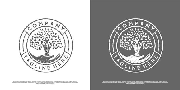 Inspiration de logo arbre de vie vintage vecteur premium