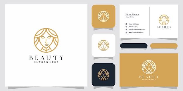Inspiration de logo d'art de ligne de femmes de beauté et conception de carte de visite