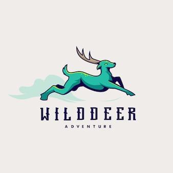 Inspiration de logo d'aventure avec le cerf courant