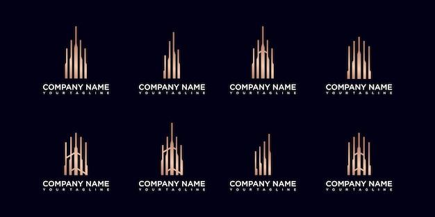 Inspiration de logo de bâtiment minimaliste d'ensemble doré avec dessin au trait concept.
