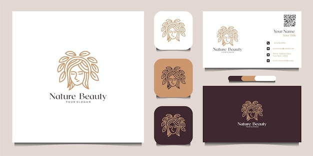 Inspiration logo beauté nature avec carte de visite avec combinaison de feuilles vecteur premium
