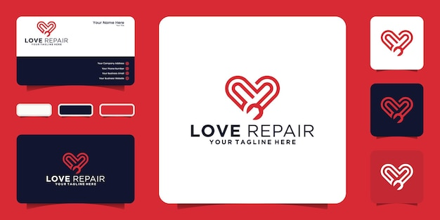 Inspiration de logo de conception de coeur et outils clés avec style de dessin au trait et conception de carte de visite