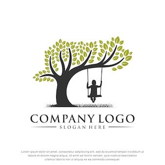 Inspiration de logo de garde d'enfants, design plat