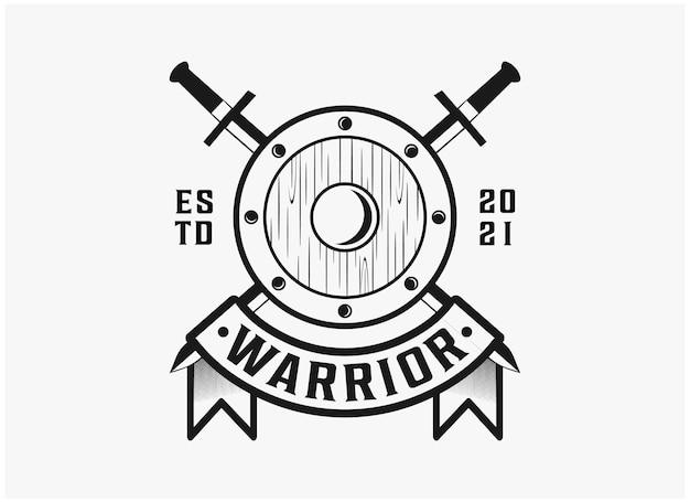 Inspiration de logo de guerrier insigne vintage