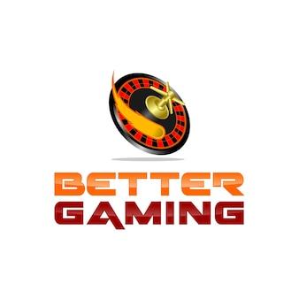 Inspiration de logo de jeu de casino de roulette