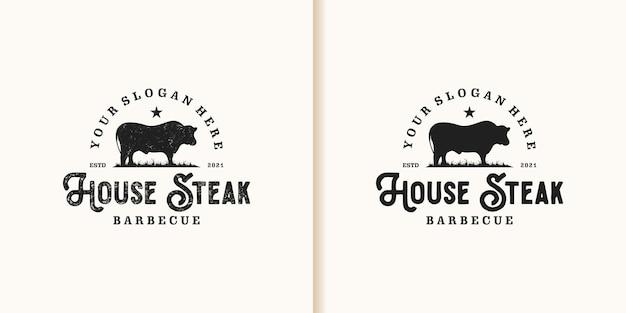 Inspiration de logo de maison de steak vintage