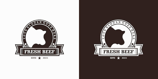 Inspiration de logo de ranch vintage, agriculture, bœuf, barbecue.