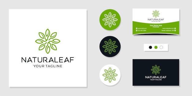 Inspiration de modèle de conception de logo de feuille naturelle et carte de visite