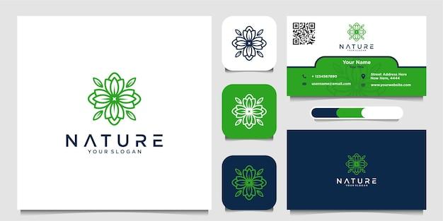 Inspiration naturelle de conception de logo et de carte de visite vecteur premium