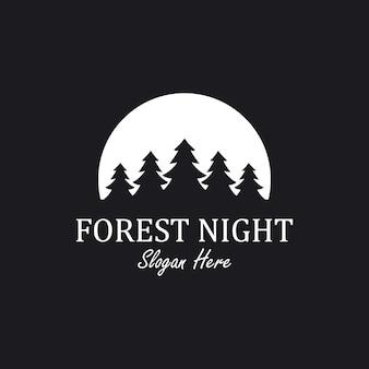 Inspiration pour la création du logo forest night avec élément pin et lune,