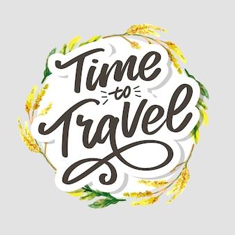 Inspiration de style de vie de voyage cite le lettrage. typographie de motivation.