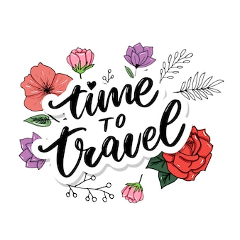L'inspiration de style de vie de voyage cite le lettrage. typographie motivationnelle.