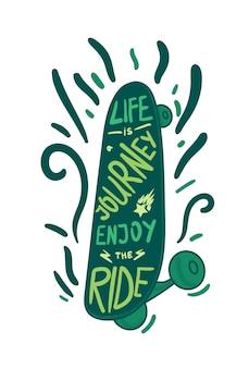 Inspiration vintage lettrage vert inscrit dans le skateboard