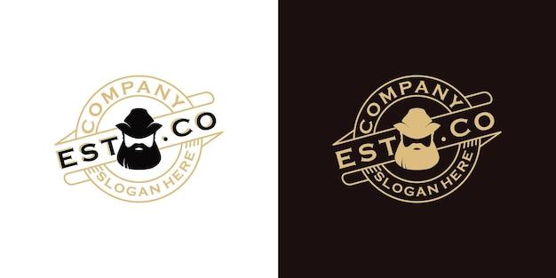 Inspiration vintage de logo d'homme de barbe