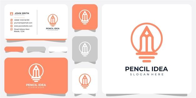 Inspirations de conception de logo d'idée de crayon. création de logo au crayon. création de logo de crayon d'ampoule