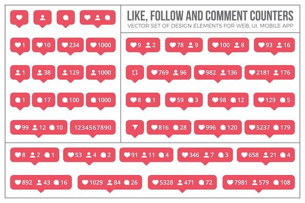 Instagram comme jeu d'icônes et d'éléments de compteur
