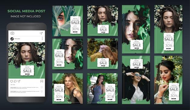 Instagram mis en vente de mode mise en page verte moderne post feed