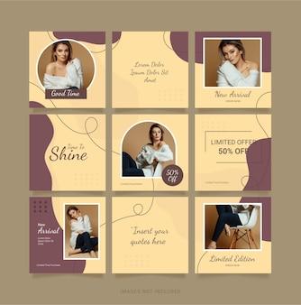 Instagram puzzle feed mode femmes modèle conception de médias sociaux