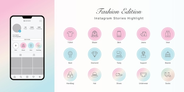 Instagram stories met en évidence la couverture pour la mode