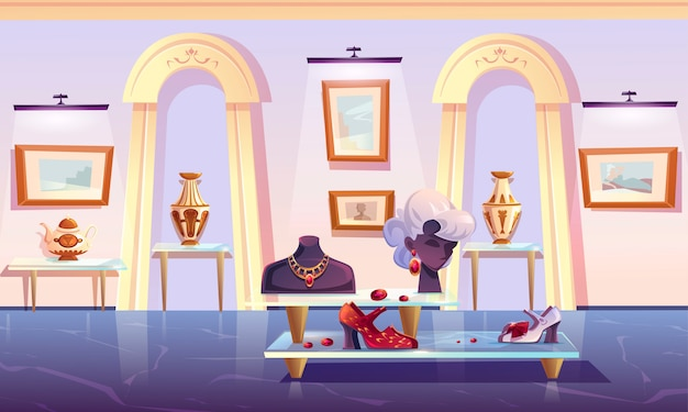 Installation du musée, exposition d'articles de luxe.