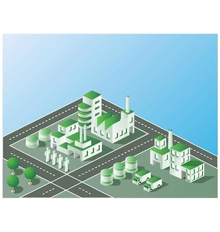 Installation industrielle en vue isométrique avec le paysage