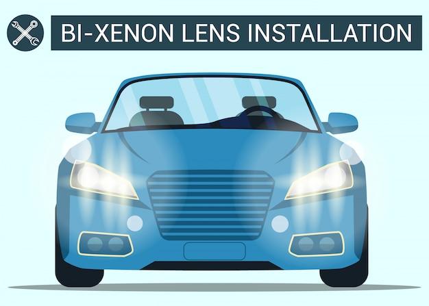 Installation d'objectif bi-xénon. voiture bleue avec phare. voiture moderne