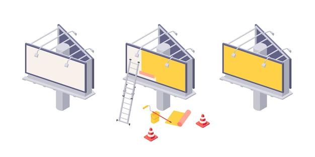 Installation de panneaux d'affichage isométrique avec différentes étapes de collage de la publicité sur la grande ville