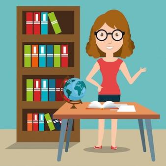 Institutrice dans la salle de classe