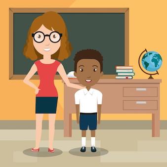 Institutrice avec des élèves en classe